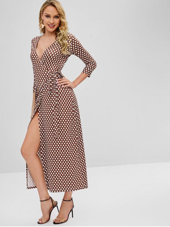 best Wrap Maxi Polka Dot Dress - BROWN L