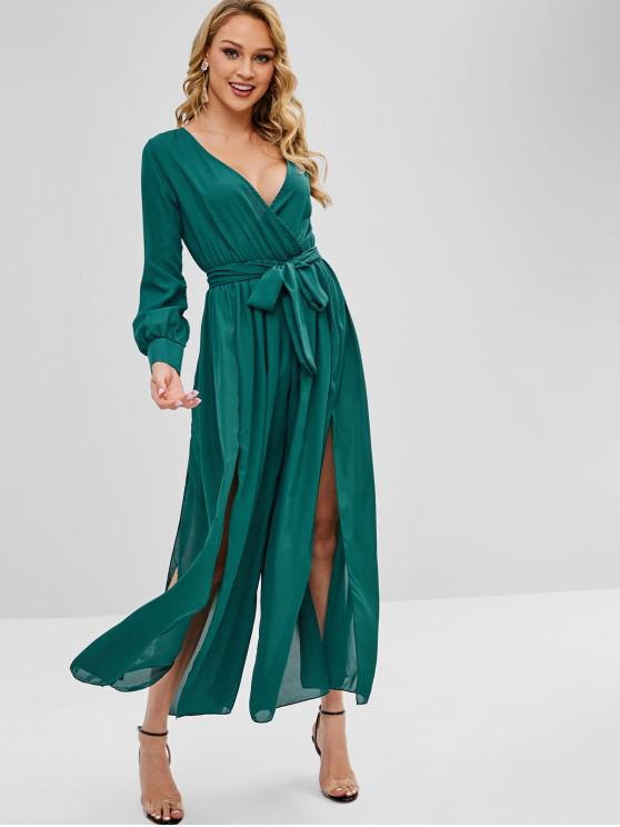 outfit Slit Belted Wide Leg Jumpsuit - GREENISH BLUE M