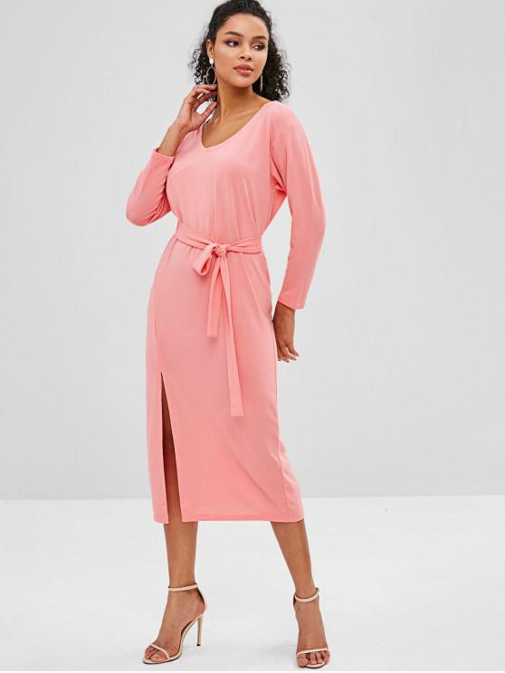 shop Slit Belted Midi Dress - PINK ONE SIZE