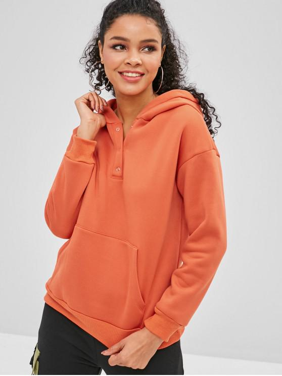 best Fleece Lined Pouch Pocket Pullover Hoodie - SUNRISE ORANGE M