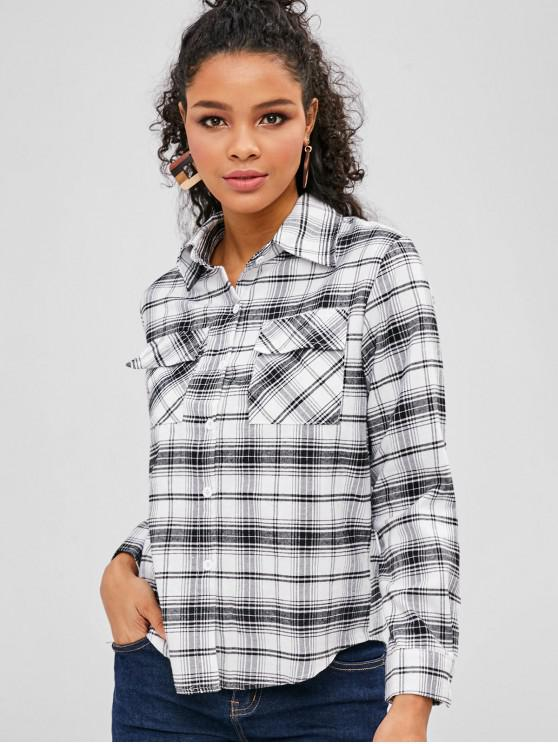 fancy Front Pockets Checked Shirt - WHITE S