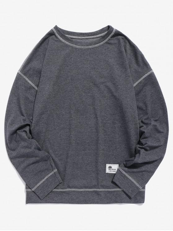 chic Contrast Flap Seam Sweatshirt - GRAY M