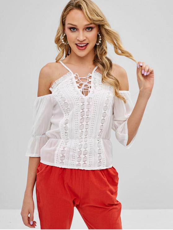 women's Crochet Applique Lace Up Chiffon Top - WHITE M