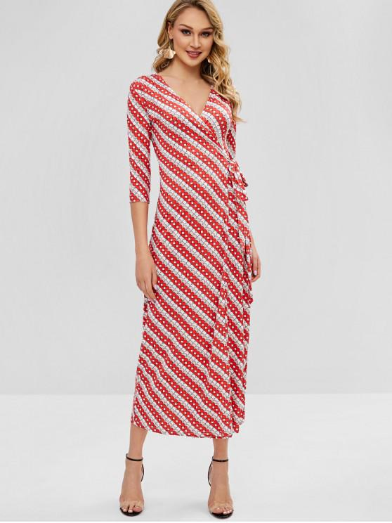fashion Circle Print Wrap Maxi Dress - BEAN RED M