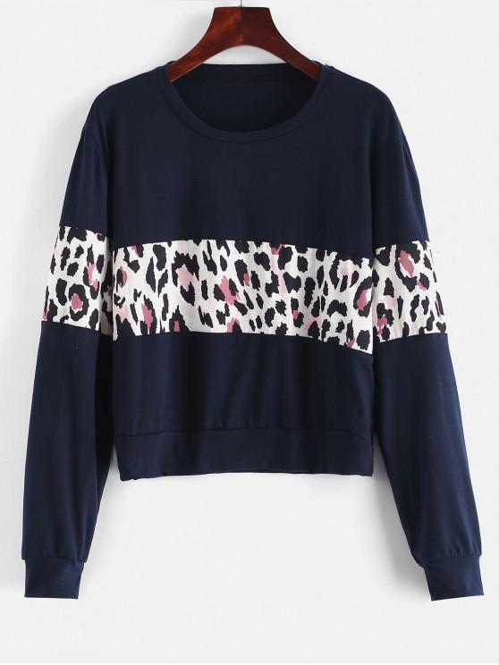 best Contrast Leopard Panel Pullover Sweatshirt - DEEP BLUE S