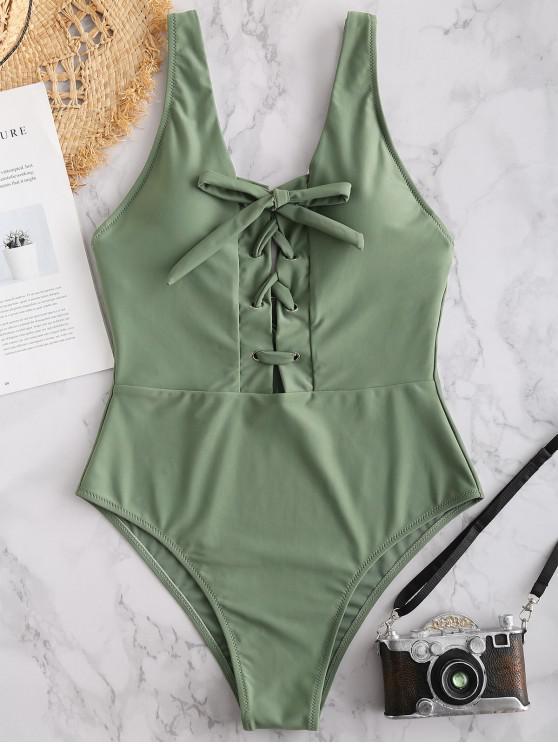 ZAFUL Lace Up traje de baño de cintura alta - Verde Marrón Claro M