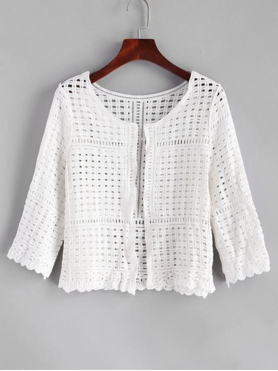 trendy Crochet Scalloped Open Front Cardigan - MILK WHITE ONE SIZE