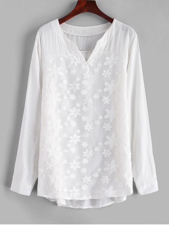 women Voile Panel High Low Blouse - MILK WHITE XL