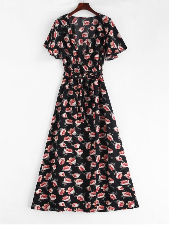 affordable Crossover Maxi Floral Tea Dress - BLACK XL