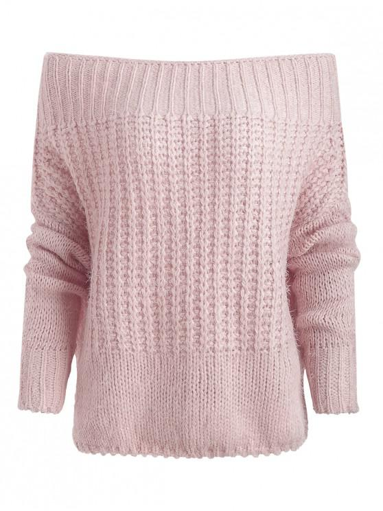 ladies Off Shoulder Chunky Knit Sweater - PINK ONE SIZE