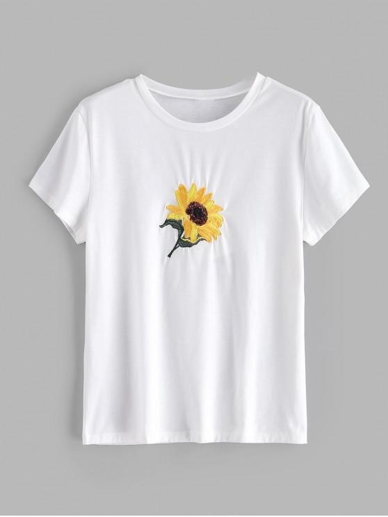 chic Sequin Sunflower Embroidered T-shirt - WHITE M