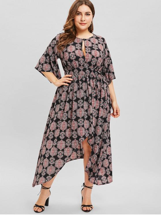 trendy ZAFUL Split Sleeve High Low Plus Size Print Dress - BLACK 2X