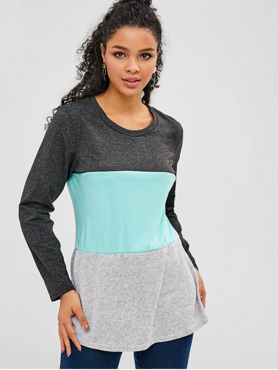 women's Brushed Paneled Tricolor Soft Tunic Tee - MULTI L