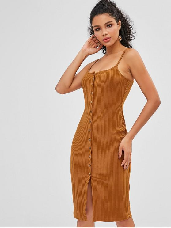 fancy ZAFUL Button Up Ribbed Cami Dress - TIGER ORANGE S