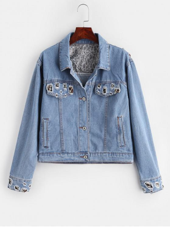 outfit Ripped Leopard Denim Jacket - BLUE XL