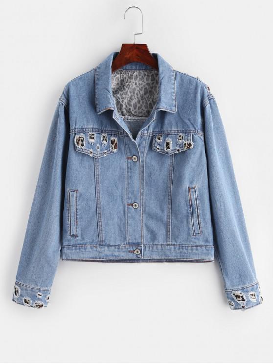 shop Ripped Leopard Denim Jacket - BLUE L