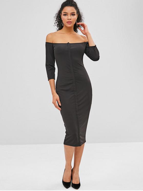 lady Button Up Off Shoulder Midi Party Dress - BLACK L