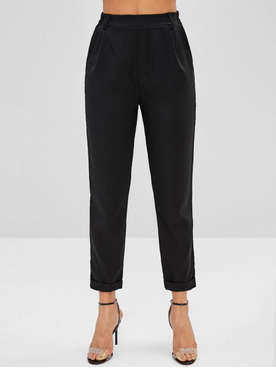 chic Solid Color Cuffed Pants - BLACK L