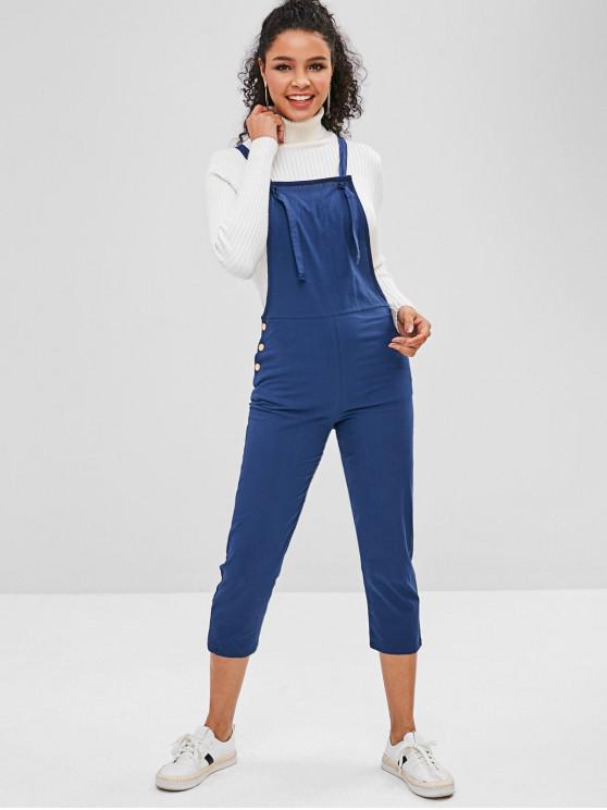 womens Back Pocket Capri Overalls - DEEP BLUE S