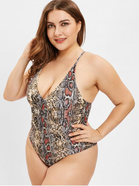 lady ZAFUL Plus Size Snakeskin Criss Cross Swimsuit - MULTI-A 1X