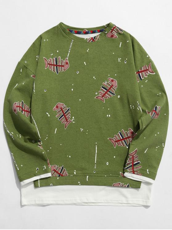 womens Fishbone Print False Two Piece Sweatshirt - GREEN M