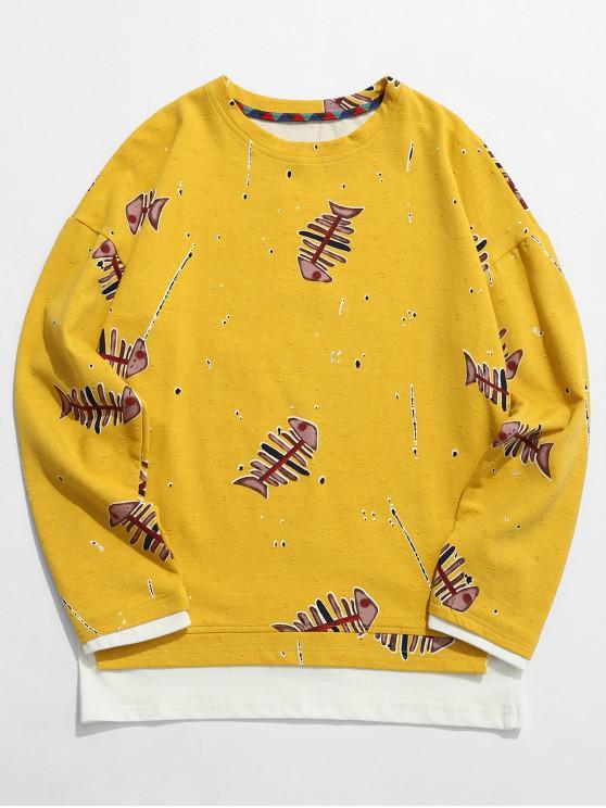 Fishbone Print False Zweiteiliges Sweatshirt - Gelb 3XL