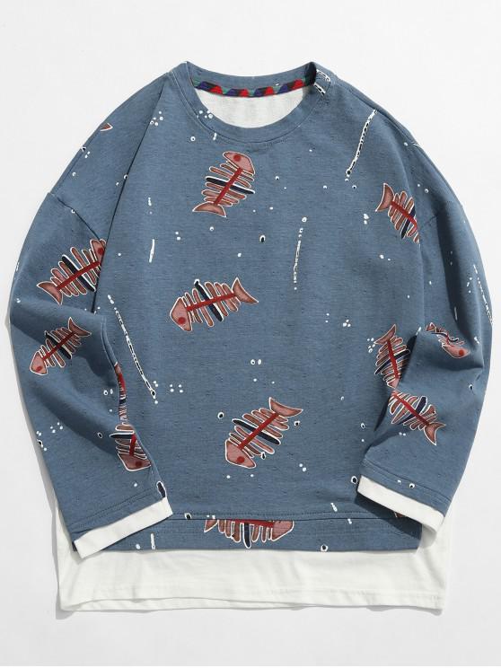 hot Fishbone Print False Two Piece Sweatshirt - SILK BLUE 2XL