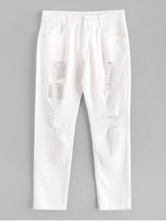 shops Plain Cut Out Ripped Jeans - WHITE S