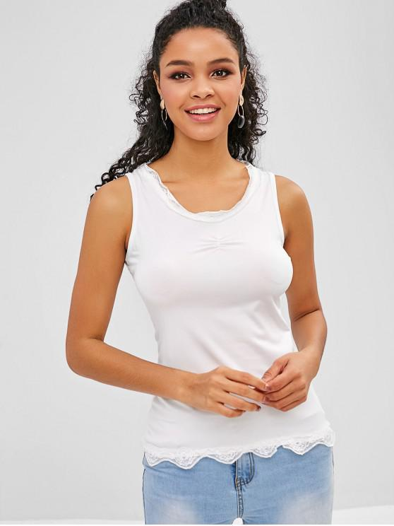 hot Lace Insert Ruched Tank Top - WHITE M
