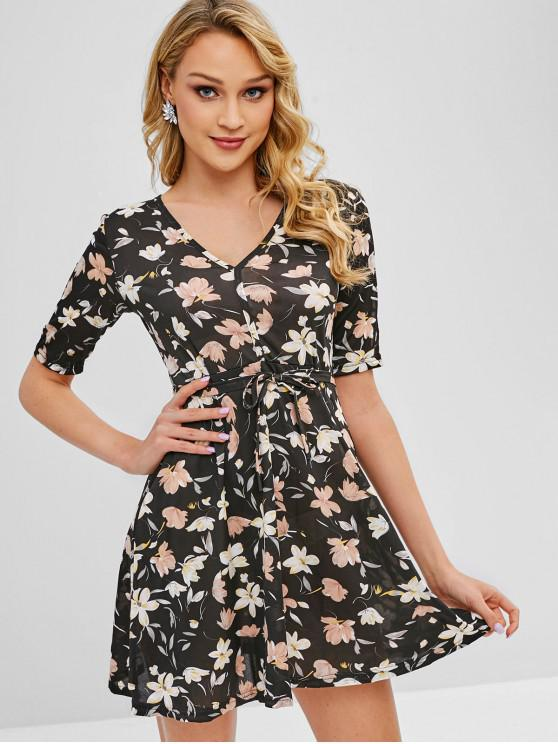3782de5ea 27% OFF  2019 Belted Floral Mini Dress In BLACK