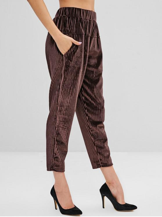 trendy High Waist Corduroy Pants with Pockets - COFFEE XL