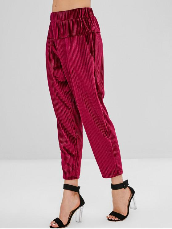 chic High Waist Corduroy Pants with Pockets - MAROON M