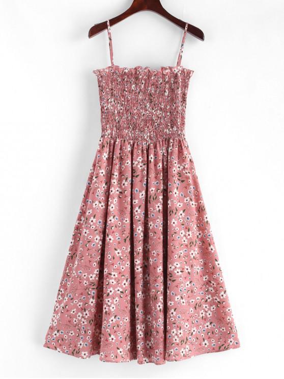 ladies ZAFUL Smocked Floral Print Cami Dress - PINK M