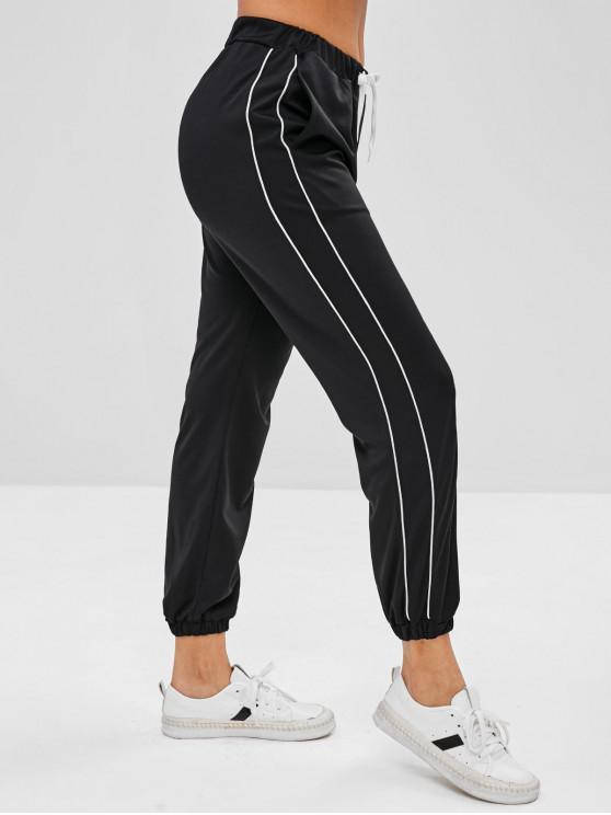 shops Piping Drawstring Jogger Pants - BLACK M