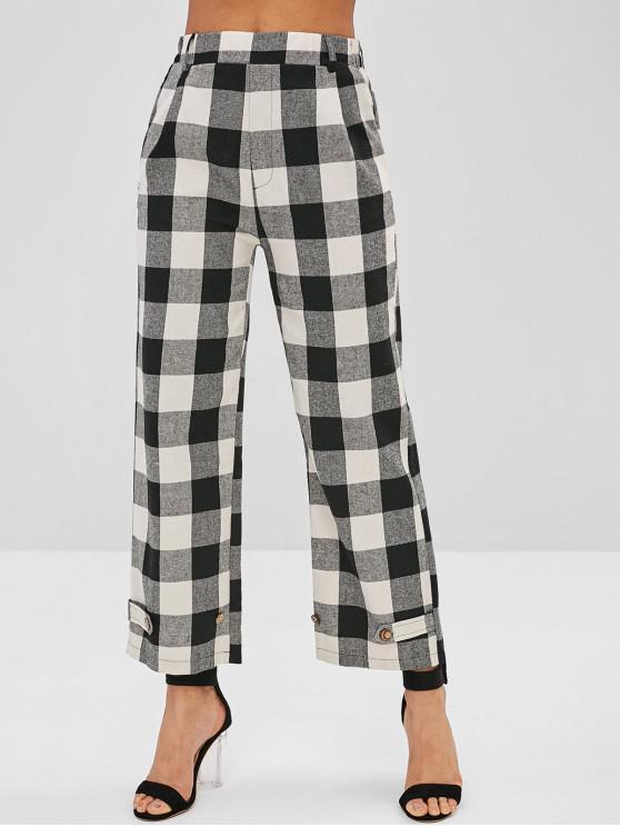 latest High Waist Plaid Wide Leg Pants - BLACK S
