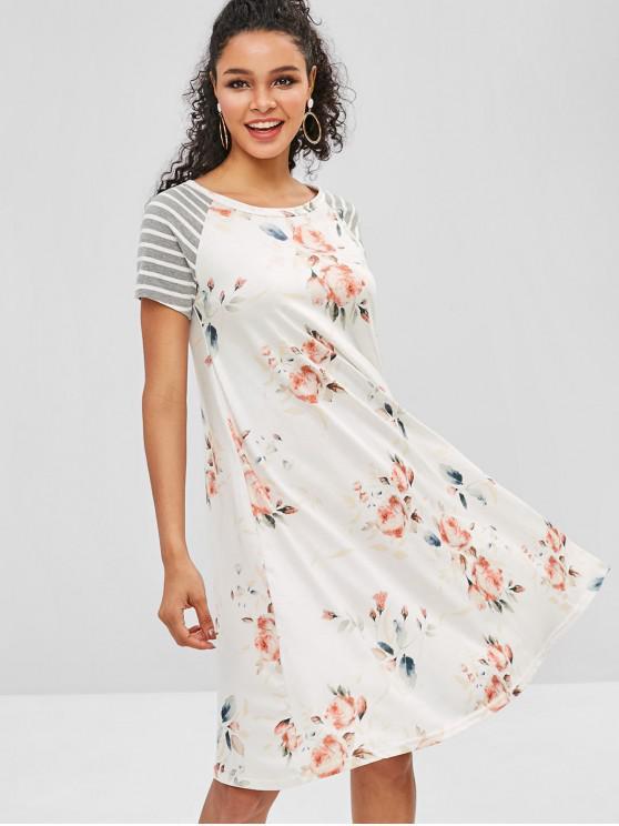 Vestido de túnica com estampa floral listrada - Branco S