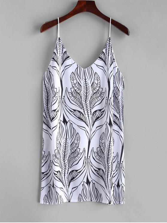 best Cami Palm Leaves Mini Dress - WHITE M