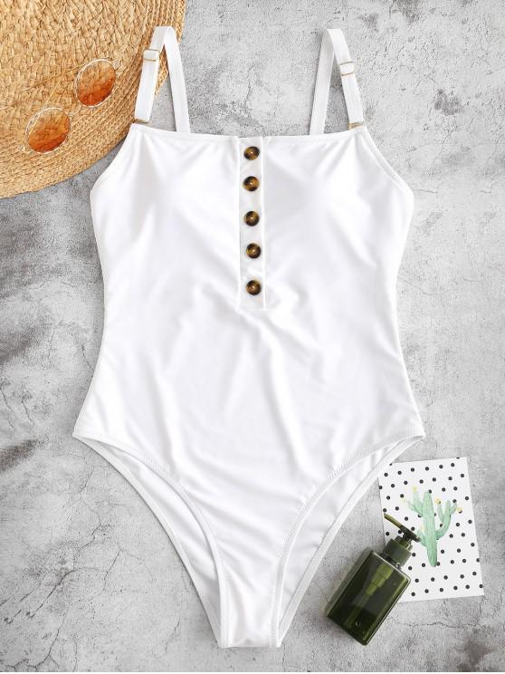 buy ZAFUL Half-button Padded One-piece Swimsuit - WHITE L