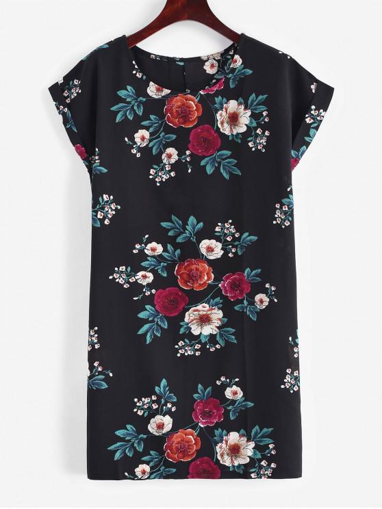 women Rolled Up Sleeve Floral Mini Dress - BLACK L