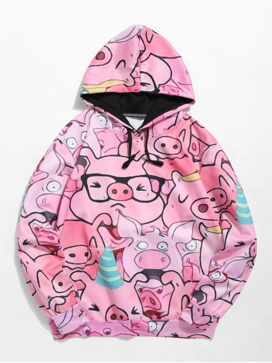 affordable ZAFUL Pullover Cartoon Pig Pattern Hoodie - PINK S
