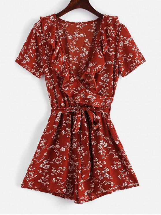 affordable Floral V Neck Ruffles Romper - CHESTNUT RED M