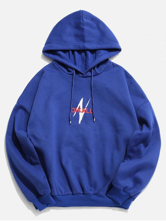 best Lightning Letter Graphic Fleece Hoodie - BLUE 3XL