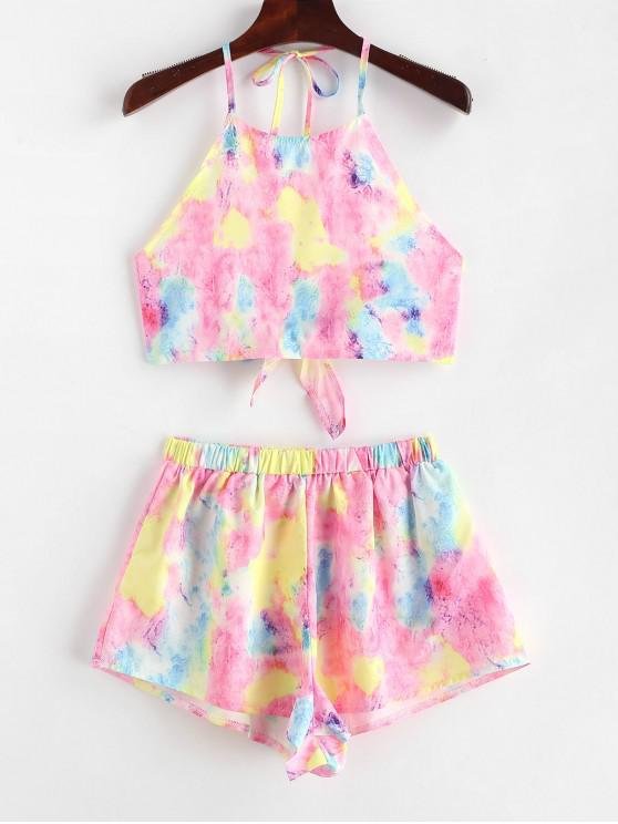 trendy Tie Dye Crop Top and Shorts Two Piece Set - MULTI S