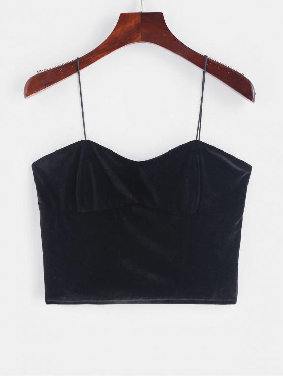 sale ZAFUL Velvet Cami Crop Top - BLACK M