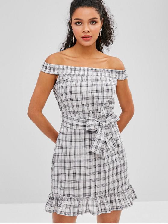 hot Plaid Ruffles Off Shoulder Dress - MULTI S