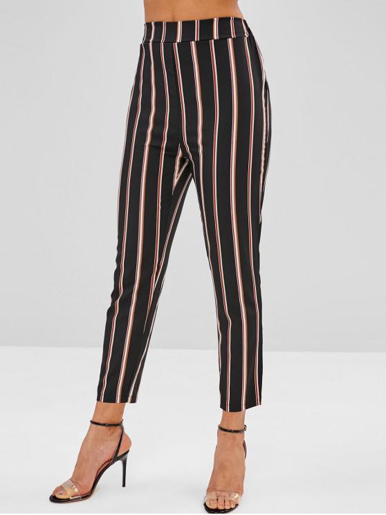 unique High Waist Striped Pants - BLACK L