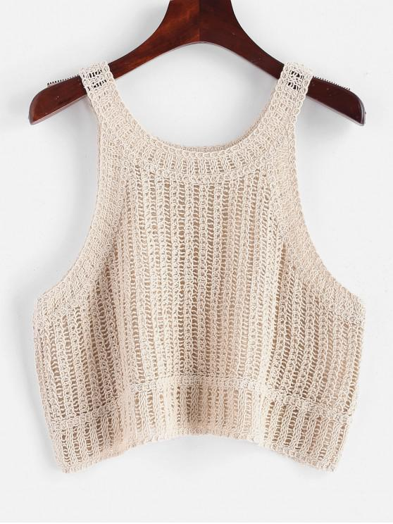 women Solid Cropped Crochet Tank Top - BEIGE ONE SIZE