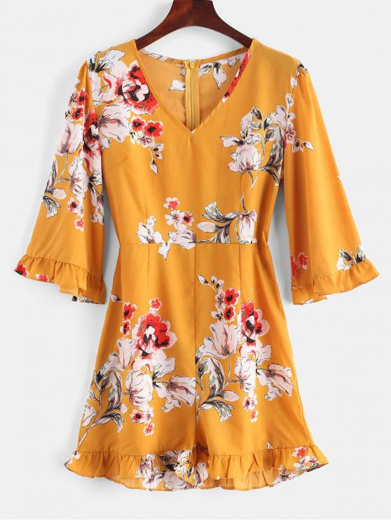 8457f5687dd 27% OFF  2019 V Neck Floral Ruffles Romper In BEE YELLOW