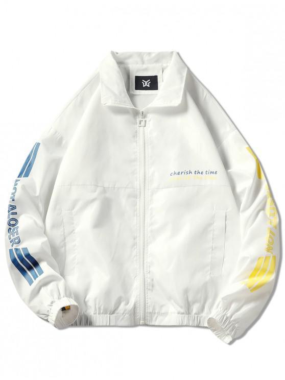 ladies Letter Print Graphic Jacket - WHITE 3XL