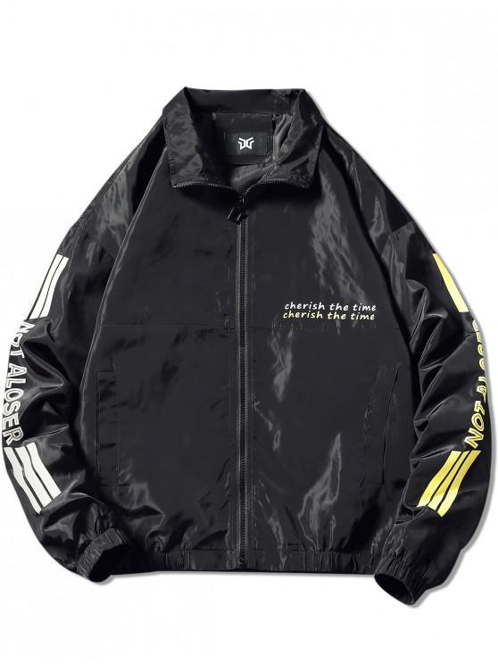 shops Letter Print Graphic Jacket - BLACK 2XL
